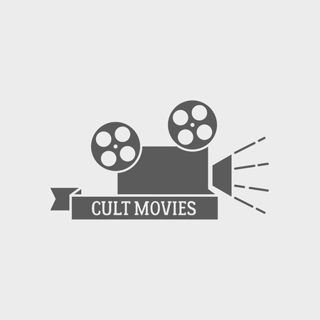 cult: Movie theater vector  , badge or label design template with film camera and cult movies title.