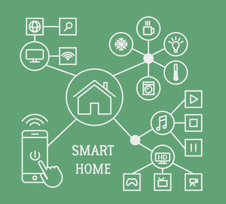 Smart home infographic concept met slimme telefoon en lineaire iconen. Vector illustratie. Vector Illustratie