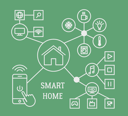 home offices: Smart home infographic concept with smart phone and linear icons. Vector illustration.