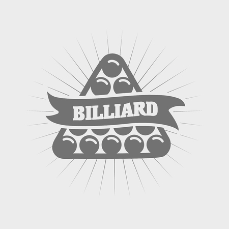 pocket billiards: Billiards and snooker sports emblem with text for sporting   badge or label design