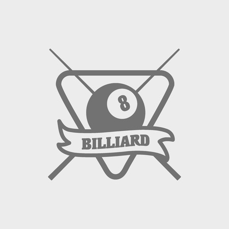 cue: Billiards or pool emblem with ball, cue, banner and text Billiards. Can be used for sport, recreation  design Illustration