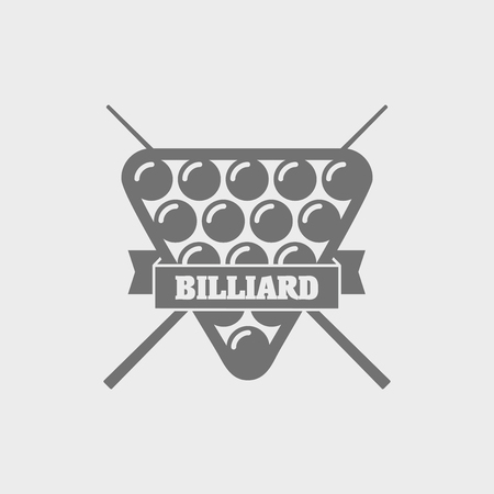 pocket billiards: Billiard icons with crossed cues behind a balls, with ribbon banners and text Billiard