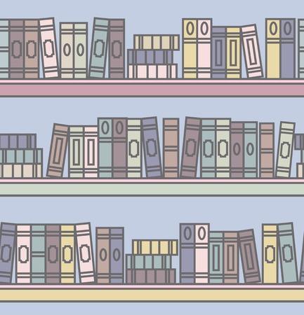 wooden shelves: Illustration of the wooden shelves with books on a white background Illustration