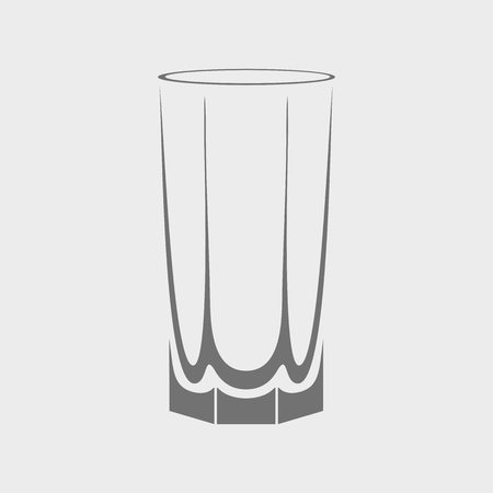 glass cup: Vector empty drinking glass cup icon