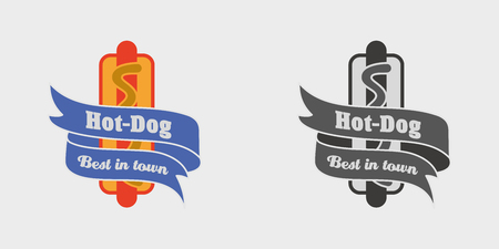 hot dog label: Vector vintage fast food logo, sign, label or badge with tasty hot dog. Monochrome and color