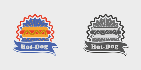 hot dog label: Hot dog vintage sign, badge, label or logo vector illustration.  Monochrome and color Illustration