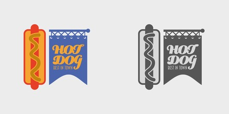 hot dog label: hot dog in a badge. Label or logo concept. Poster element. Monochrome and color