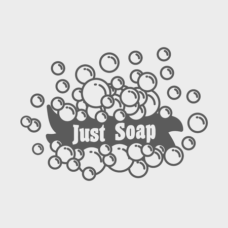 Just soap logo or label concept with banner and foam