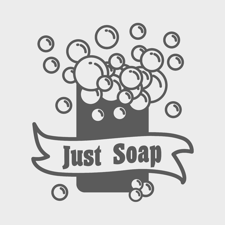 foam bubbles: Soap with foam logo or label template. Vector illustration with foam bubbles. can be used for design logotype or symbol Illustration