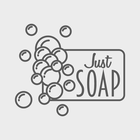 handmade soap: Soap logo, badge or label design template with foam