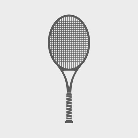 racquetball: Firmar o icono con gran raqueta de tenis sobre fondo claro Vectores