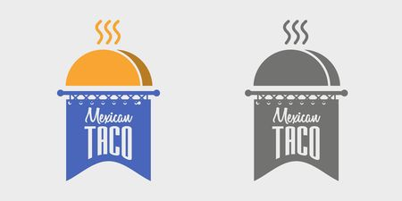 mexican food plate: Mexican Taco logo vector concept illustration.
