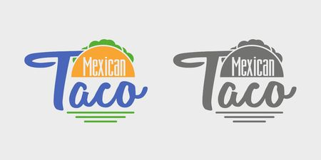shredding: Taco icon or logo concept. Vector dark grey and color icon on light grey background