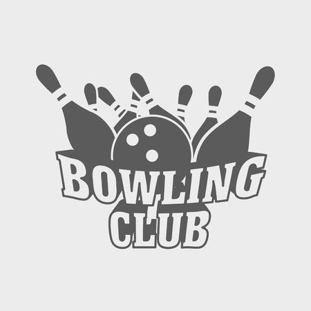 skittles: Bowling club logo, symbol or badge design concept with ball knocks down pins.