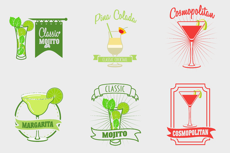 cosmopolitan: Set of mojito, margarita, pina colada and cosmopolitan cocktails logos, labels and bages