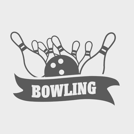 skittles: bowling logo, symbol or badge template with ball knocks down pins.