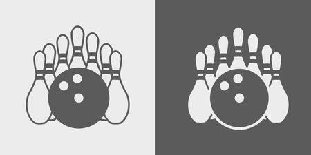 bocce: Vector Bowling Pins and Bowling Ball. Set of icons or signs on dark and light background