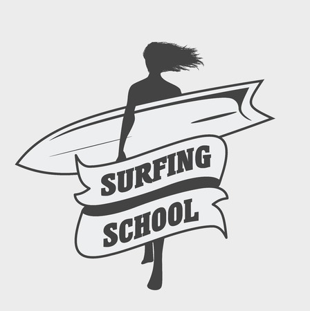malibu: Surfing school logo or label template with girl with surfboard. Can be used for t-shirt, sticker, business card Illustration