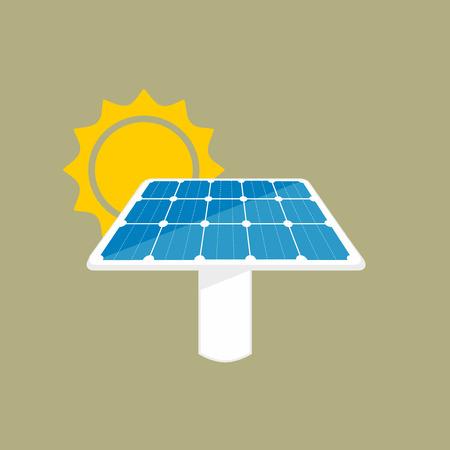 sun energy: Solar panel icon. Sun energy panel illustration with sun and panel