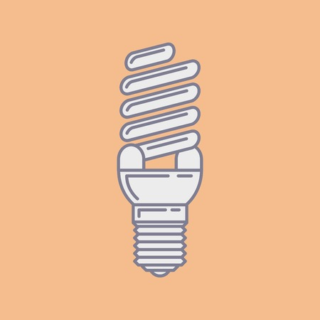 efficient: Vector efficient energy saving fluorescent light bulb icon.