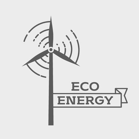 wind farm: Eco energy logo or label design template. Wind energy generator. Wind farm symbol