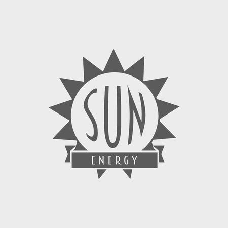 sun energy: Sun energy logo, label design concept with sun and ribbon. Sun energy vector symbol template
