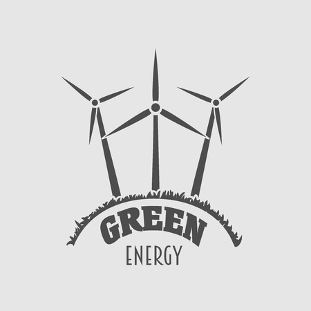 green power: Green energy vector logo, sign or symbol template with wind power plant illustration. Wind farm silhouette