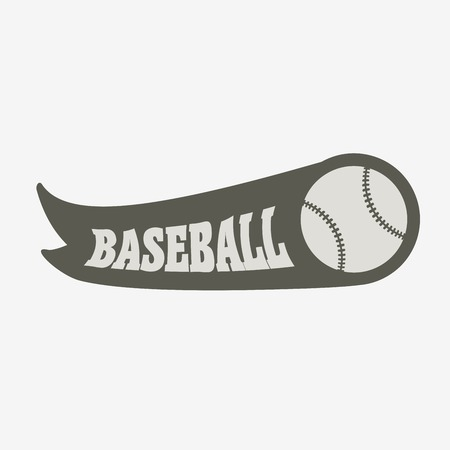 fast pitch: Baseball logo, badge or label design concept with ball and ribbon