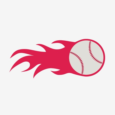 major league: Baseball ball with fire flame vector icon, sport equipment