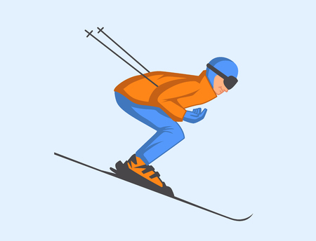 Vector illustration of skier speeding down slope.