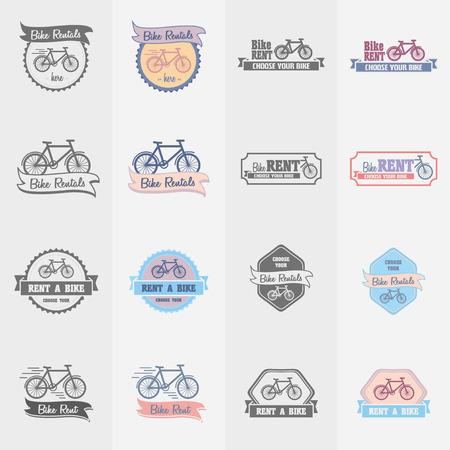 rentals: Bike rentals logos, labels and symbols vector set. Color and monochrome Illustration