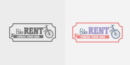 rentals: Bike rentals vector logo, label or badge design template. Color and monochrome Illustration