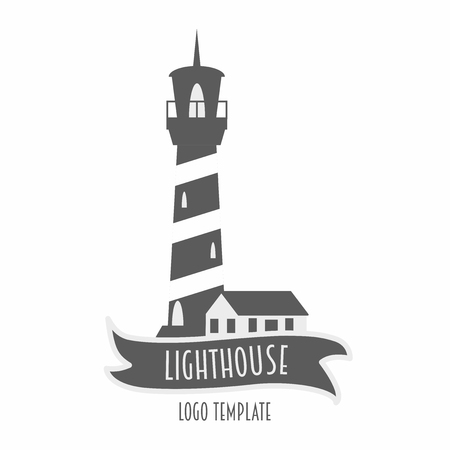 Lighthouse logo or label design element vector illustration in flat style. Black and white.
