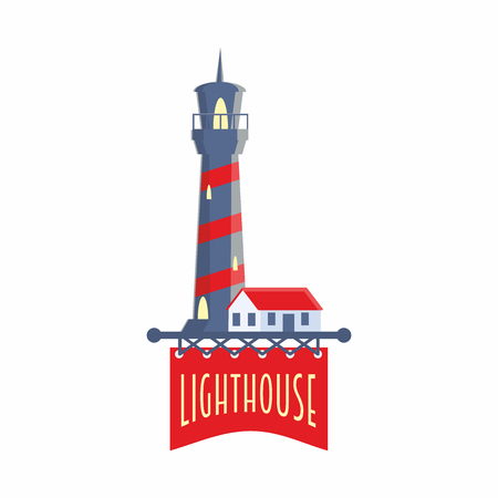 Vector logo, label or badge design template with lighthouse