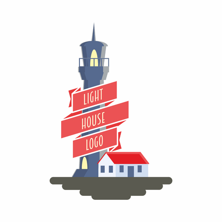 Vector sign, symbol or logo design concept with lighthouse and ribbon illustration