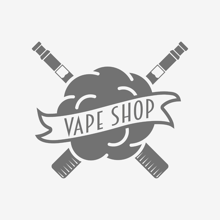 Vape shop badge, logo or symbol design concept isolated on white background. Monochrome vector logo with steam cloud for e-cigarettes store advertising. Illustration