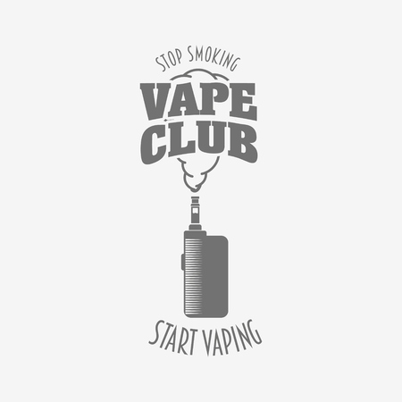 eliquid: Vape club badge, logo or symbol design concept. Vaping box mod and vapor cloud vector illustration isolated on white background. Can be used for advertising vape shop, electronic cigarettes store