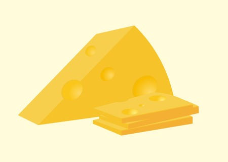 Vector illustration of cheese. Sliced and solid piece. Illustration
