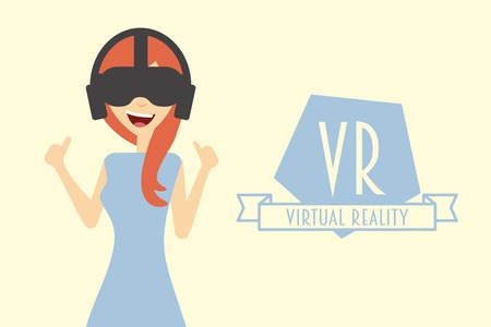 cyber girl: Red hair woman or girl wearing virtual reality headset.
