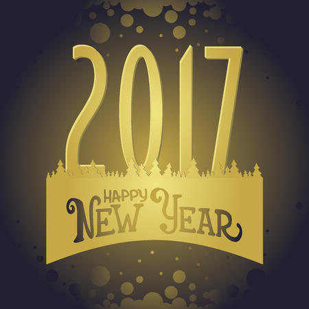 glistening: Vector 2017 Happy New Year with golden elements Illustration