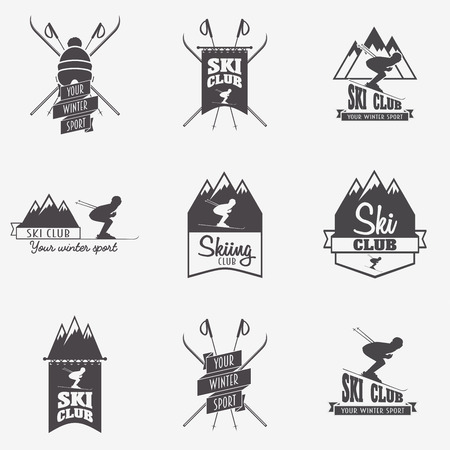 patrol: Set of ski club, Patrol Labels. Bundle of vintage mountain winter camp explorer badges. Outdoor adventure logo design. Illustration