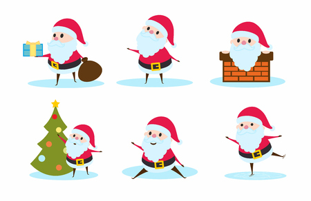 white bacjground: Collection of Christmas Santa Claus. Set of illustrations for invitation, greeting card design, t-shirt print, inspiration poster.