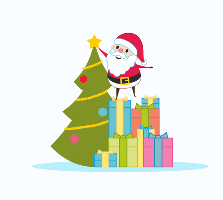 Santa Claus decorates a Christmas tree. He stands on gifts. Illustration