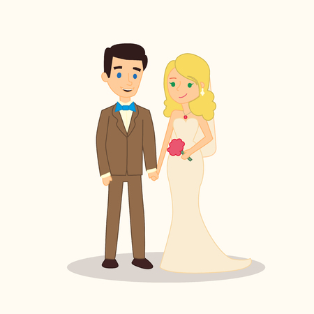 wed beauty: Wedding couple cartoon characters. Bride and groom illustration for invitation, greeting card design, t-shirt print, inspiration poster. Illustration
