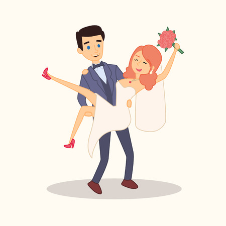 The bride at the hands of the groom. Wedding couple cartoon characters.