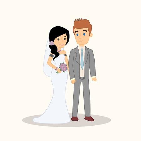 Wedding couple people characters isolated.
