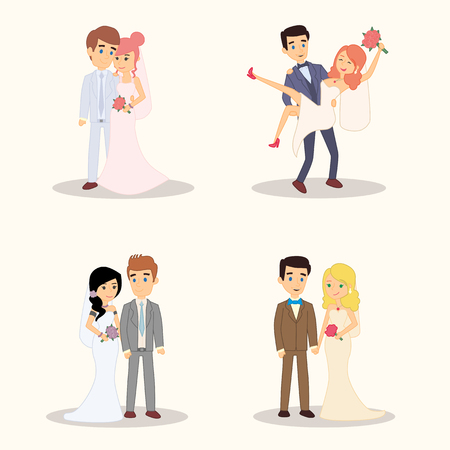 wed beauty: Wedding couple cartoon characters set. Vector illustrations for invitation, greeting card design, t-shirt print, inspiration poster.