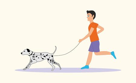 dalmatian: Man or boy running with dog breed Dalmatian Illustration