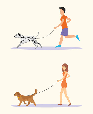 leisure time: Men and women in casual clothes walking the dogs of different breeds, active people, leisure time. Golden retriever and dalmatian dog breeds. Illustration