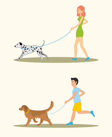 Men and women in casual clothes walking the dogs of different breeds, active people, leisure time. Man with Golden retriever and woman with dalmatian dog breeds.